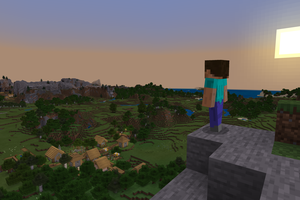 Minecraft Steve looking on his kingdom