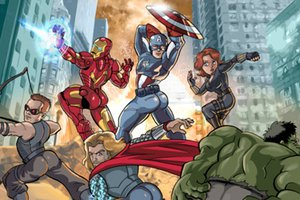 the avengers flexing their beautiful butts