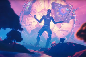 Travis Scott performing in Fortnite